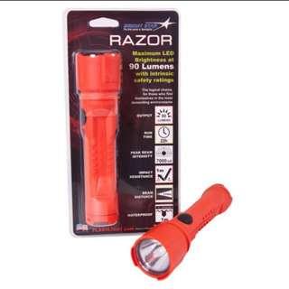 BRIGHTSTAR 60102 RAZOR LED FLASHLIGHT, UL, 100 LUMENS, ORANGE