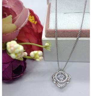 Authentic Bangkok Gold 10k Saudi Gold White Gold Love Chain Necklace & Flower Pendant with Zirconia Stones  Non Tarnish (Not Pawnable)