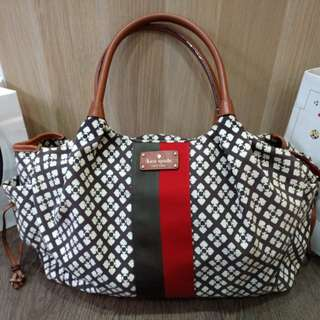Kate Spade Stevie Diaper Bag in Red Brown White Green