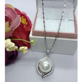 Authentic Bangkok Gold 10k Saudi Gold White Gold Chain Necklace & Fresh Water Pearls Non Tarnish (Not Pawnable)