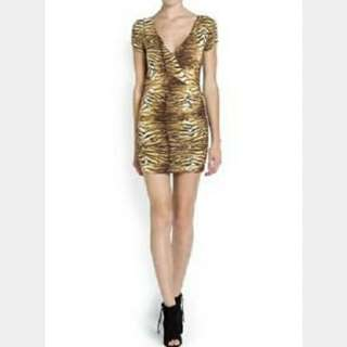 Original Very Slightly used Mango yellow tiger print dress