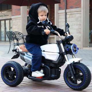 Harley Davidson White Big Bike Large Rechargeable Motorcycle Ride on Toy
