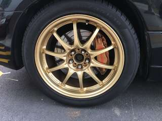 Rays Forged monoblock 18 inch rims with pirelli tyres