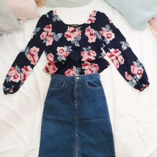 Top & denim skirt