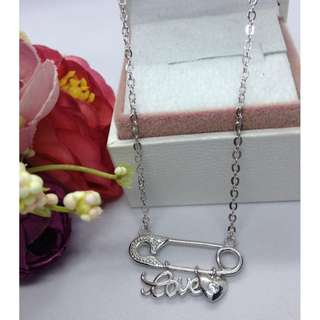 Authentic Bangkok Gold 10k Saudi Gold White Gold Heart Love Pin Centered Chain Necklace Non Tarnish (Not Pawnable)