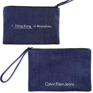 全新 Calvin Klein Jeans 牛仔布袋/萬用袋/化妝袋