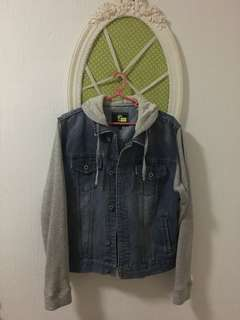 REPRICED: DENIM HOODIE WITH GREY SLEEVES