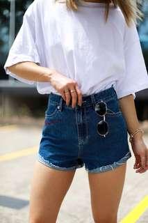 Embroidered Dark Denim Shorts