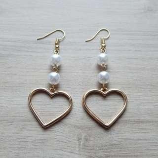 Heart Pearl Drop Earring