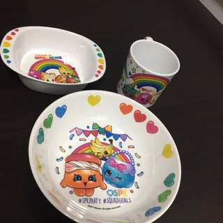 Shopkins plate, bowl and cup