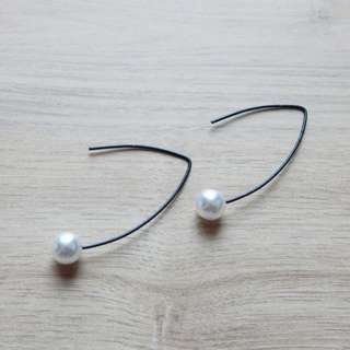 Black Fish Hook with Pearls Earring
