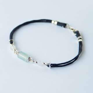 Mini translucent jade barrel bead cotton waxed woven bracelet