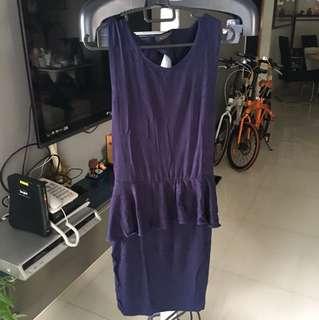NAVY BLUE sexy back peplum t shirt dress