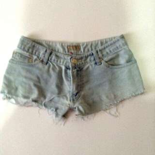 Low waist shorts size 31 on tape measure when laid flat