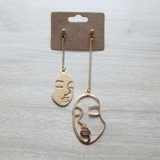 Asymmetrical Gold Face Drop Earring