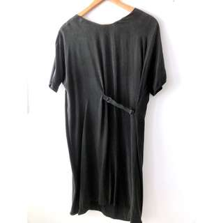 Cos minimalist oversized tshirt dress in black silk and cotton