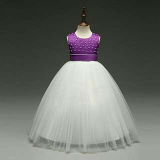 *FREE DELIVERY to WM only / Pre order 15-18 days* Kids long ball gown dress (tulle/cotton) each as shown design/color. Free delivery is applied for this item.