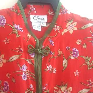 100% Silk Blouse with floral print
