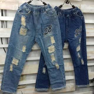 Celana jeans riped and motif