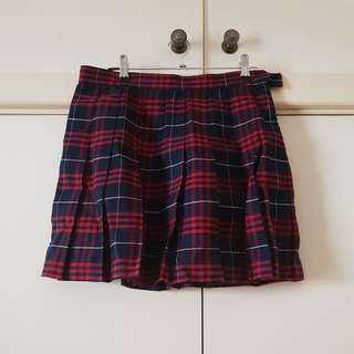 American Apparel Red and Navy Tartan Tennis Skirt Size M/10