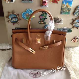 jual tas H Birkin 30 LEATHER MIRROR - camel