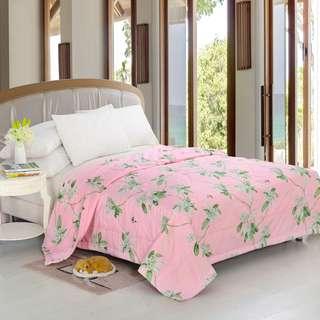 Selimut bedcover pink daun uk200x230