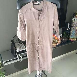 Pleated Mandarin collar dress