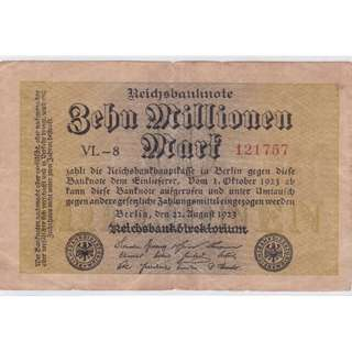 1923 Germany 10 Million Mark