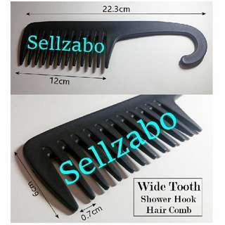 🆙 Big Black Wide Tooth Shower Plastic Hair Hook Comb Bath Bathe Bathroom Head Sellzabo
