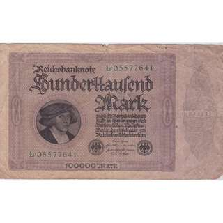 1923 Germany 100000 Mark