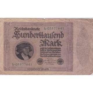 1923 Germany 100000 Mark