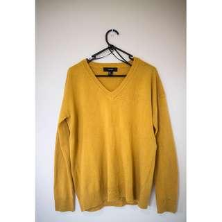 Forever21 Mustard V-neck Jumper