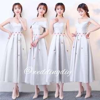 Bridesmaid Dress White Floral 3/4 Length #budgetbride #budgetwedding