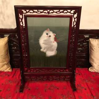 Chinese rosewood carved double-sided hand embroidery cat revolvable table screen