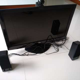 Computer screen with speakers and webcam