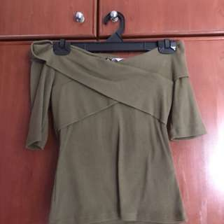 H&M Navy/Green Off Shoulder Top