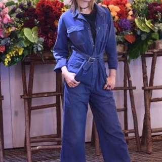 Dior牛仔連體闊腿褲
