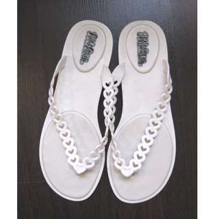 Melissa Heart White Slippers