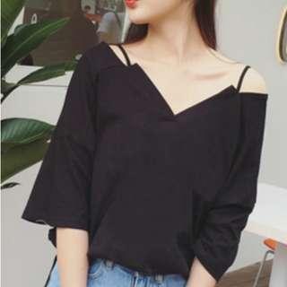 [NEW] Korean V-neck Collar Shirt Loose Strap Shoulder Sleeve (Black)