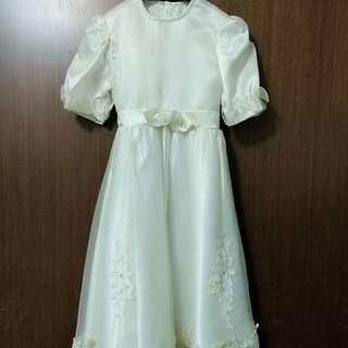 女童白紗洋裝畢業禮服表演服