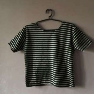 Stripes top black and white
