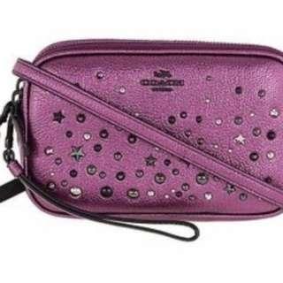 Coach F59452 紫色星星鉚雙層拉鍊斜跨包