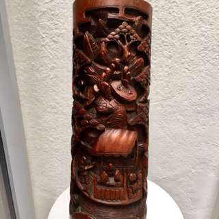 Intricately carved Bamboo vase