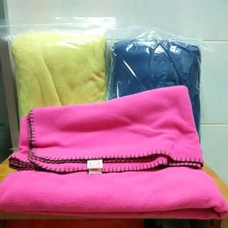 Two Brand New Polyester Blanket - Blue and Pink