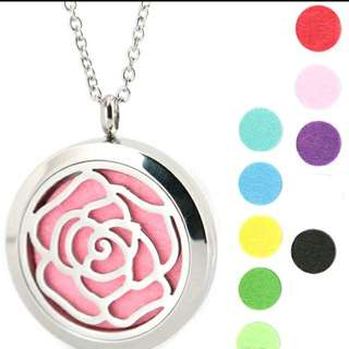 Rose Flower ~ Essential Oil surgical Stainless Steel Perfume Diffuser Oils Locket Necklace
