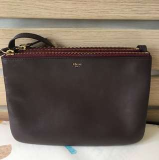 Celine trio large burgandy