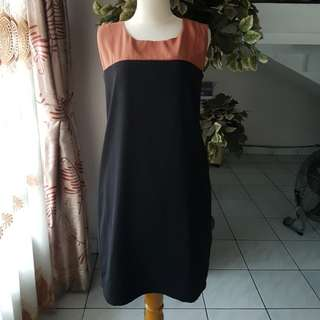 Dress black brown Formal Murah