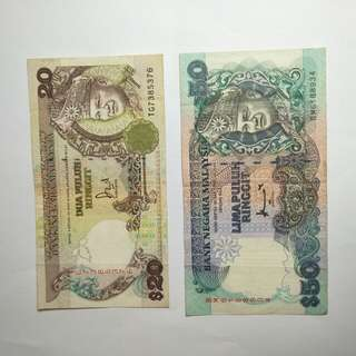Malaysia   old notes  1pc $20 1pc$50  total 2pcs sale $88