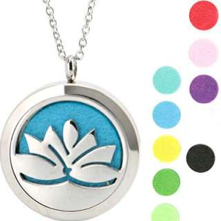Lotus Flower ~ Essential Oil surgical Stainless Steel Perfume Diffuser Oils Locket Necklace