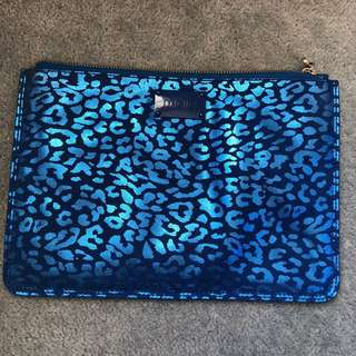 Maje blue metallic leopard print clutch